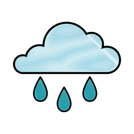 cloud and rain icon over white background vector illustration Illustration