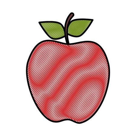 흰색 배경 벡터 일러스트 레이 션 위에 사과 과일 아이콘 일러스트