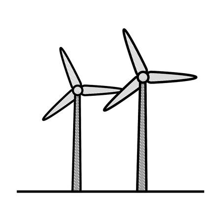 turbines pictogram over witte achtergrond vectorillustratie Stock Illustratie