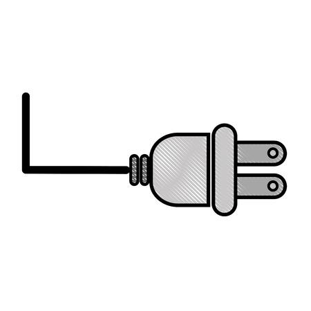 白背景ベクトル イラスト上の電気プラグ アイコン  イラスト・ベクター素材