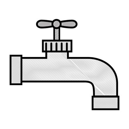 水が白い背景ベクトル画像上のアイコンをタップします。  イラスト・ベクター素材