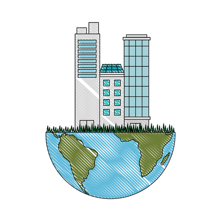 earth planet icon over white background vector illustration Ilustrace