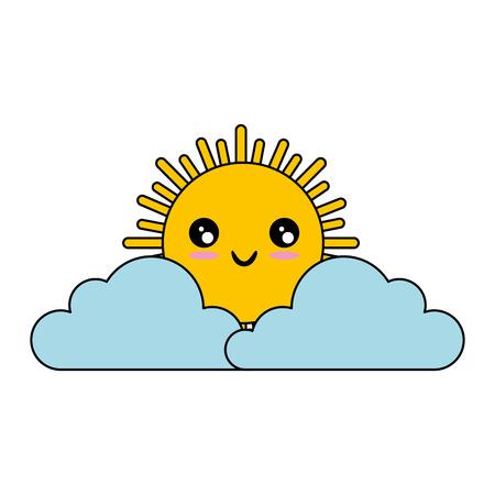 흰색 배경 벡터 일러스트 레이 션 위에 kawaii 구름과 태양 아이콘