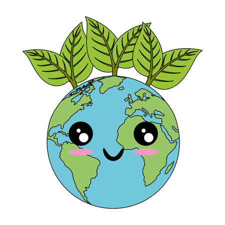 kawaii earth planet with leaves icon over white background colorful design vector illustration