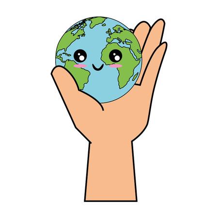 hand holding a kawaii earth planet icon over white background colorful design vector illustration Vektoros illusztráció
