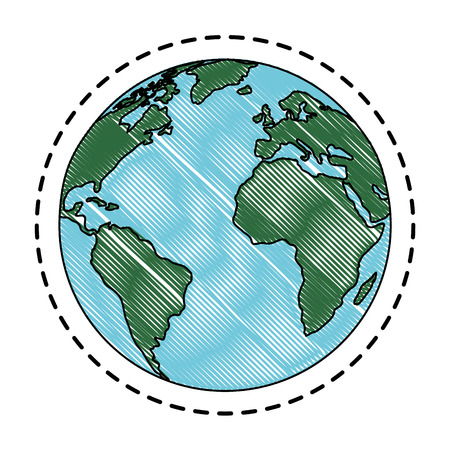 earth planet icon over white background vector illustration Иллюстрация