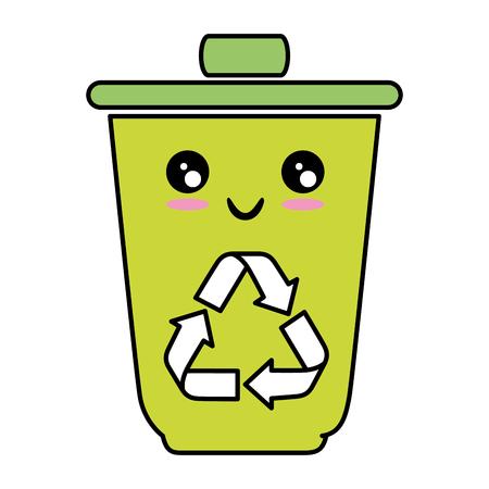 kawaii trash bucket icon over white background vector illustration Illustration