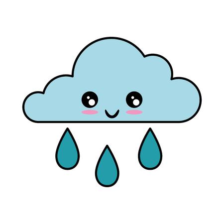 흰색 배경 벡터 일러스트 레이 션 위에 kawaii 구름과 비 아이콘 일러스트