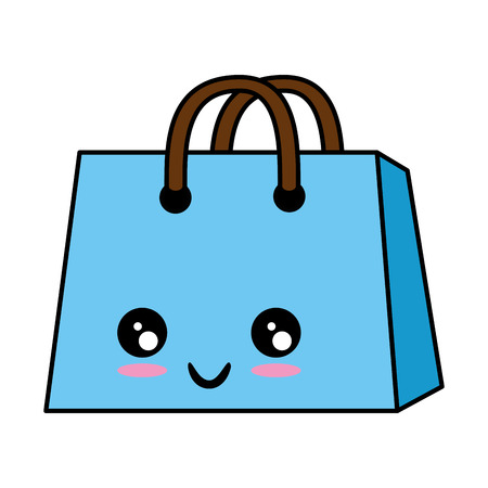 kawaii shopping bag icon over white background vector illustration 向量圖像