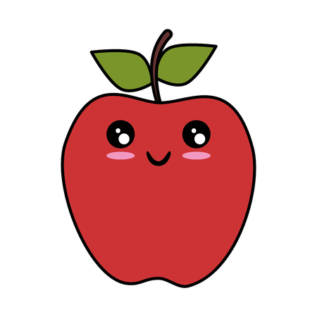 kawaii apple fruit icon over white background vector illustration