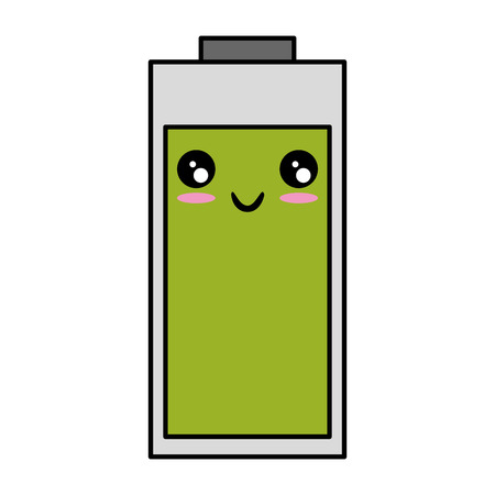 kawaii battery icon over white background vector illustration
