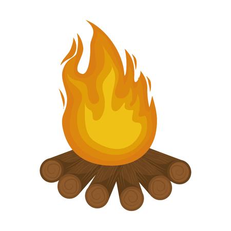 白い背景のベクトル図の上のたき火アイコン。  イラスト・ベクター素材