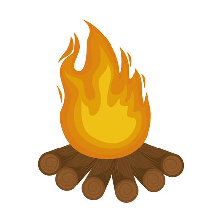 A bonfire icon over white background vector illustration.