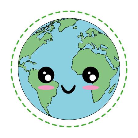 白地カラフルなデザインのベクトル図をかわいい地球惑星アイコン