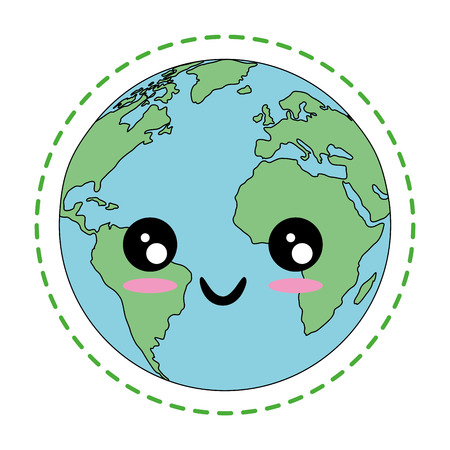 kawaii earth planet icon over white background colorful design vector illustration Ilustrace