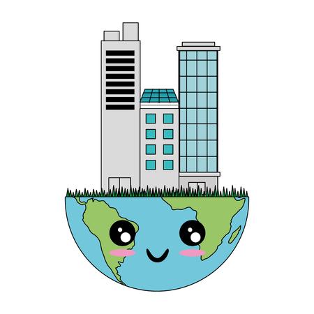 A kawaii earth planet with city buildings icon over white background colorful design vector illustration. Vektoros illusztráció