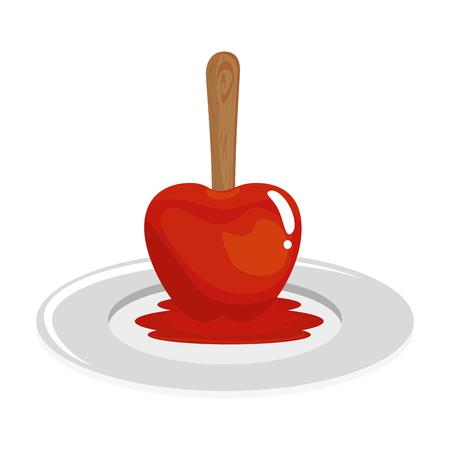 흰색 배경 벡터 일러스트 레이 션 위에 달콤한 사과 과일 아이콘.