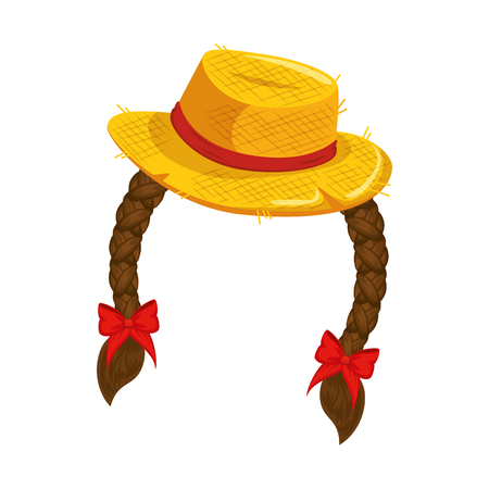 Een hoed met haar vlechten pictogram over witte achtergrond vectorillustratie. Stock Illustratie