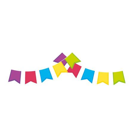 白い背景のベクトル図を装飾的なペナントのアイコン。