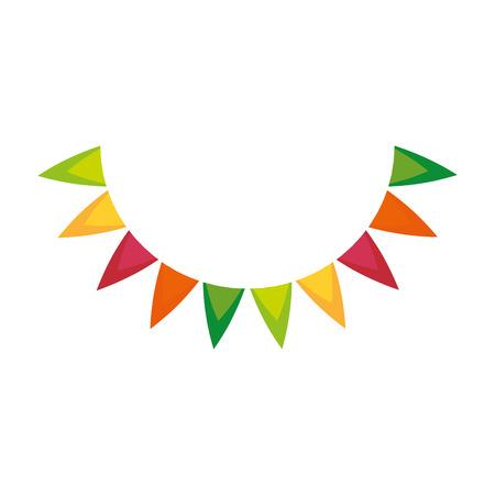 A decorative pennants icon over white background vector illustration. Ilustração