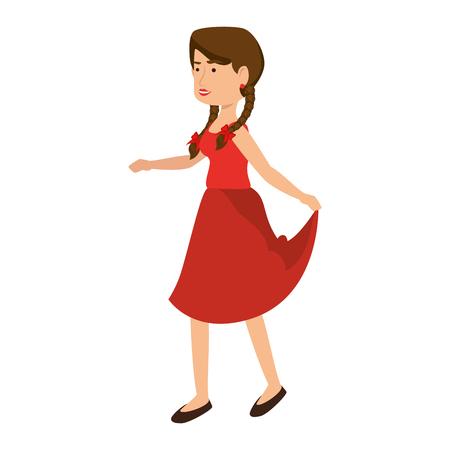 Vrouw die een typisch kledingspictogram over witte achtergrond kleurrijke ontwerp vectorillustratie draagt
