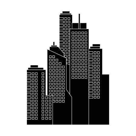 흰색 배경 벡터 일러스트 레이 션 위에 도시 건물 아이콘