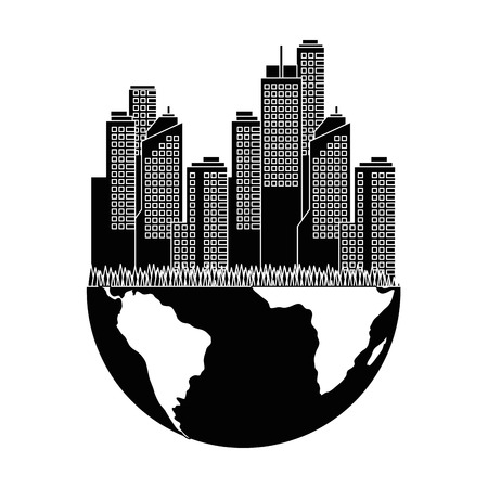 earth planet with city buildings icon over white background vector illustration