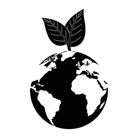 earth planet with leaves icon over white background vector illustration Çizim
