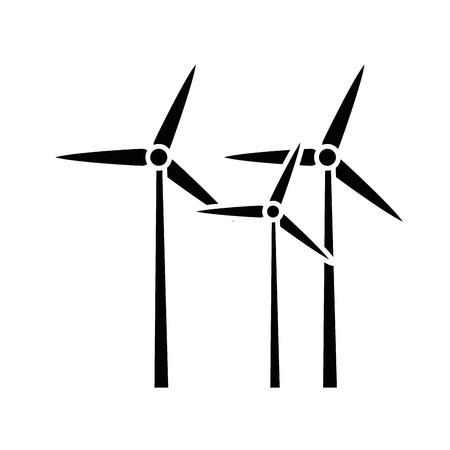 eolic turbiny ikona na białym tle ilustracji wektorowych Ilustracje wektorowe