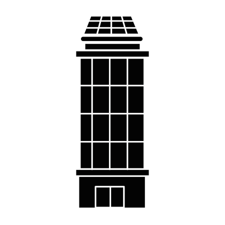city building icon over white background vector illustration