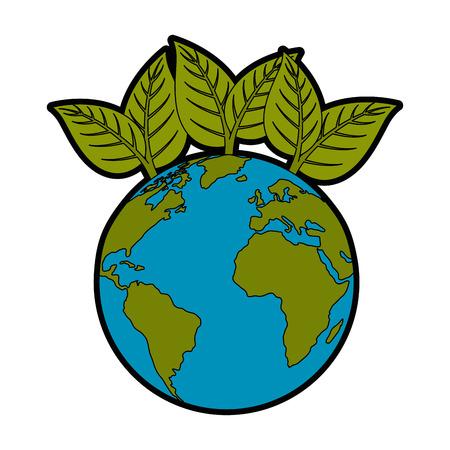 地球惑星で白い背景ベクトル図でアイコンを葉します。