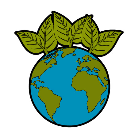earth planet with leaves icon over white background vector illustration Ilustrace