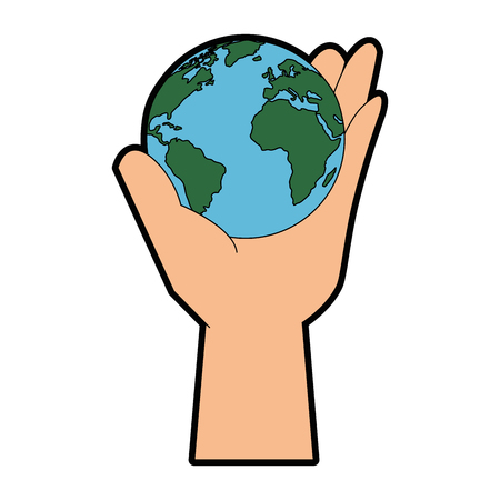 hand with earth planet icon over white background vector illustration Ilustração