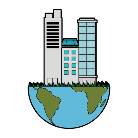 An earth planet with city buildings icon over white background vector illustration.