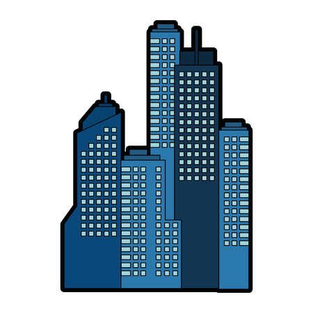 A city buildings icon over white background vector illustration.