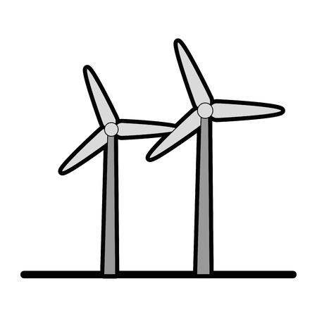 Eolic-turbinespictogram over witte vectorillustratie als achtergrond Stock Illustratie