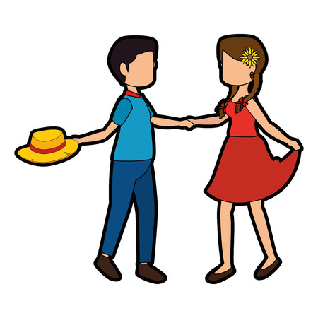 postcard: Couple dancing icon over white background colorful design vector illustration