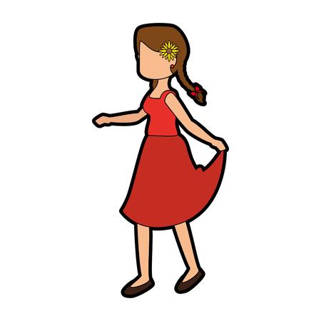 Vrouw draagt een typische jurk icoon over witte achtergrond kleurrijke ontwerp vector illustratie
