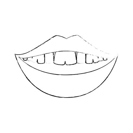 Mund lächelndes Symbol über weißem Hintergrund Vektor-Illustration Standard-Bild - 82562580