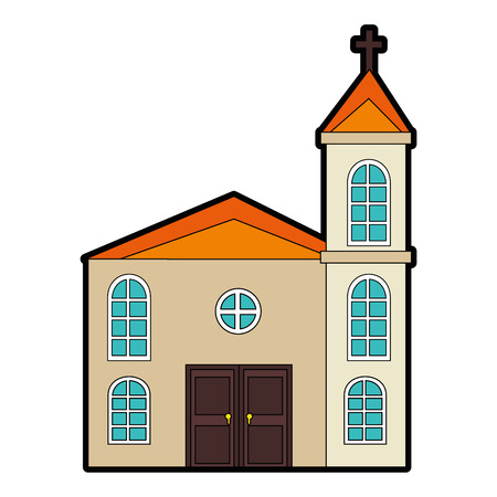 흰색 배경 벡터 일러스트 레이 션 위에 교회 아이콘