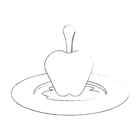 sweet apple fruit icon over white background vector illustration Illustration