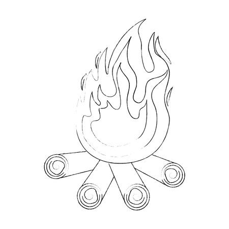 白い背景のベクトル図の上のたき火アイコン  イラスト・ベクター素材