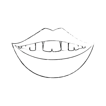 mouth smiling icon over white background vector illustration