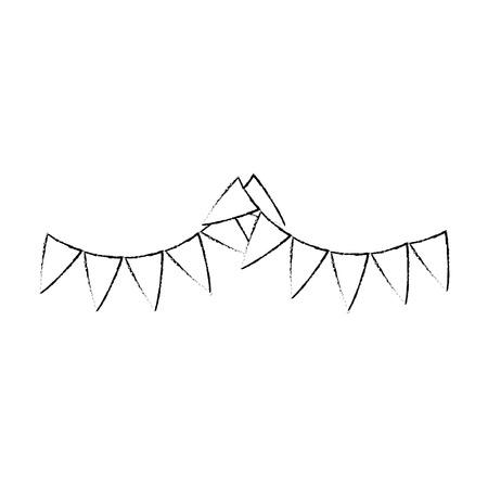 decoratieve wimpels pictogram over witte achtergrond vectorillustratie