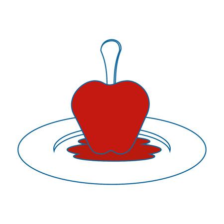 白い背景のベクトル図に甘いリンゴ フルーツ アイコン