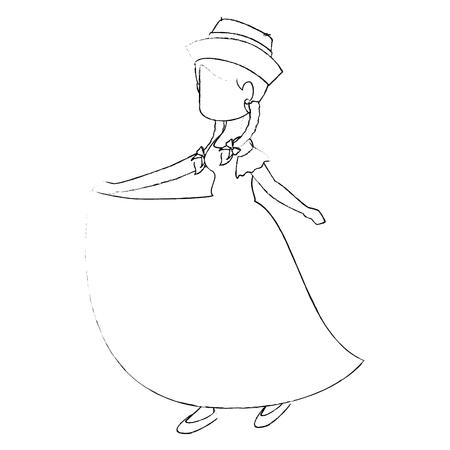 ホワイト バック グラウンドで典型的なドレス アイコンを着て女性ベクトル イラスト