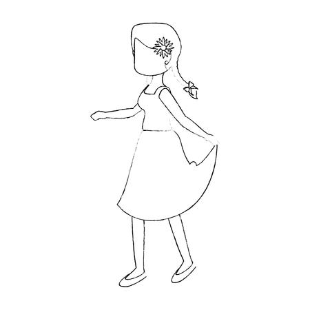 Vrouw die een typisch kledingspictogram over witte vectorillustratie dragen als achtergrond Stock Illustratie