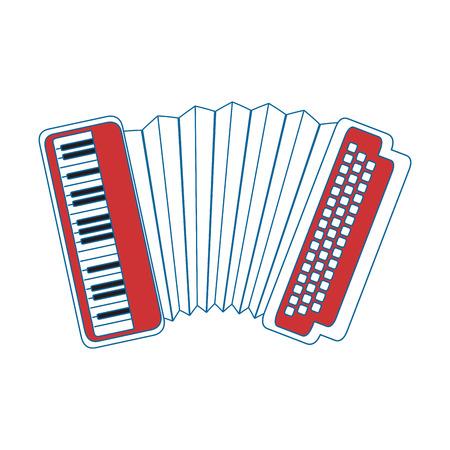 accordion instrument icon over white background vector illustration Ilustracja