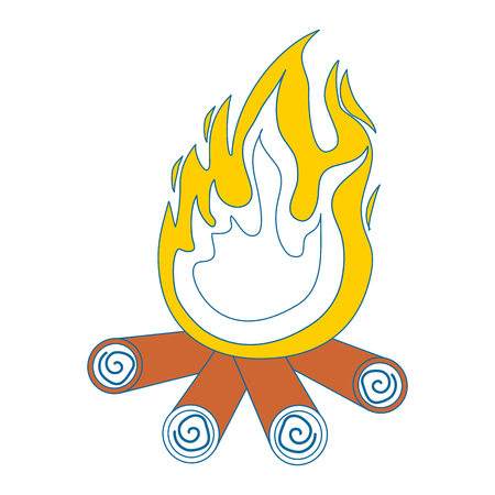 bonfire icon over white background vector illustration 向量圖像