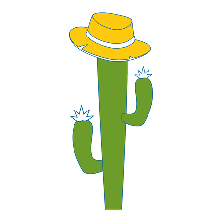 cactus with hat  icon over white background vector illustration